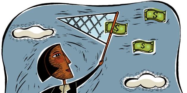 An illustration of a businesswoman catching money using a net