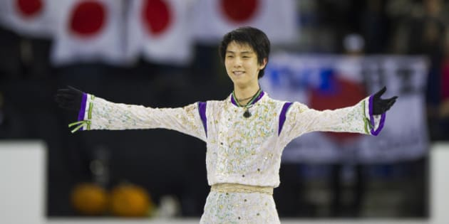 LETHBRIDGE, AB - OCTOBER 31: Yuzuru Hanyu of Japan acknowledges the crows after finishing the Men Free Skate on day two of Skate Canada International ISU Grand Prix of Figure Skating, October, 31, 2015 at ENMAX Centre in Lethbridge, Alberta, Canada.  (Photo by Rich Lam - ISU/ISU via Getty Images)
