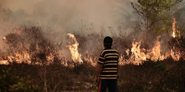 A villager looks at a peatland fire on the outskirts of Palangkaraya city, Central Kalimantan on October 26, 2015. For nearly two months, thousands of fires caused by slash-and-burn farming in Indonesia have choked vast expanses of Southeast Asia, forcing schools to close and scores of flights and some international events to be cancelled. AFP PHOTO / Bay ISMOYO        (Photo credit should read BAY ISMOYO/AFP/Getty Images)