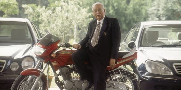 INDIA - AUGUST 22:  Brijmohan Lall Munjal, Chairman, Hero Honda Motors Ltd sitting on his motorcycle ( Business, Profile )  (Photo by Bandeep Singh/The India Today Group/Getty Images)