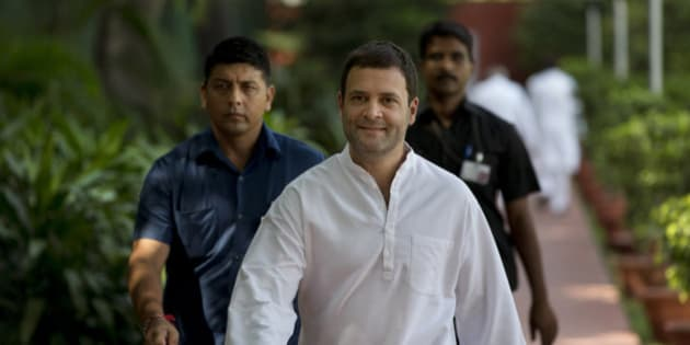 India's main opposition Congress party vice president Rahul Gandhi arrives for the Congress Working Committee (CWC) meeting at the party headquarters in New Delhi, India, Tuesday, Sept. 8, 2015. The CWC is the highest decision making body of the Congress party. (AP Photo/Manish Swarup)