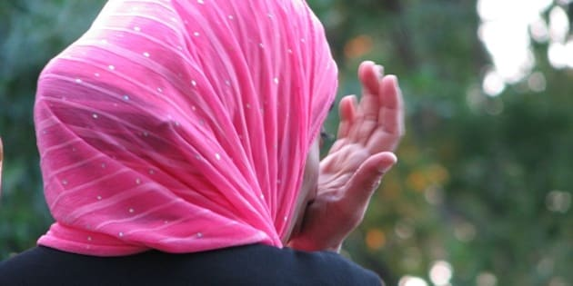 Close-up of muslim lady at Lafortune.