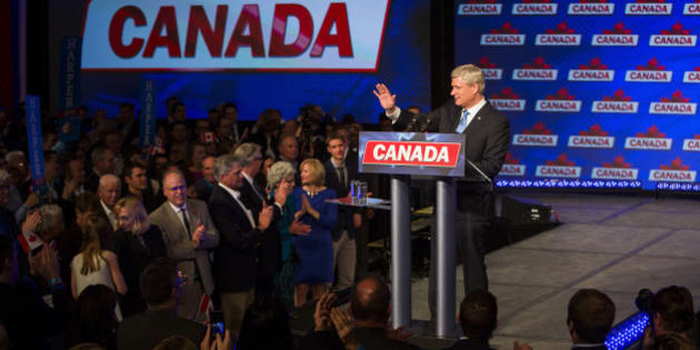 Conservative Leader Stephen Harper, Canada's prime minister, waves as he attends a news conference where he conceded victory on election day in Calgary, Alberta, Canada, on Monday, Oct. 19, 2015. Justin Trudeau's Liberal Party has swept into office with a surprise majority, ousting Prime Minister Stephen Harper and capping the biggest comeback election victory in Canadian history. Photographer: Ben Nelms/Bloomerg