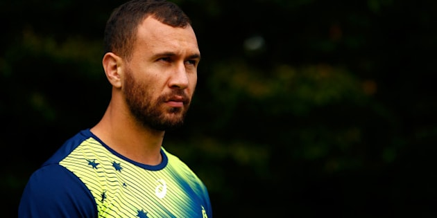 LONDON, ENGLAND - OCTOBER 20:  Quade Cooper of Australia makes his way to the pitch during a training session at The Lensbury Hotel on October 20, 2015 in London, United Kingdom.  (Photo by Dan Mullan/Getty Images)