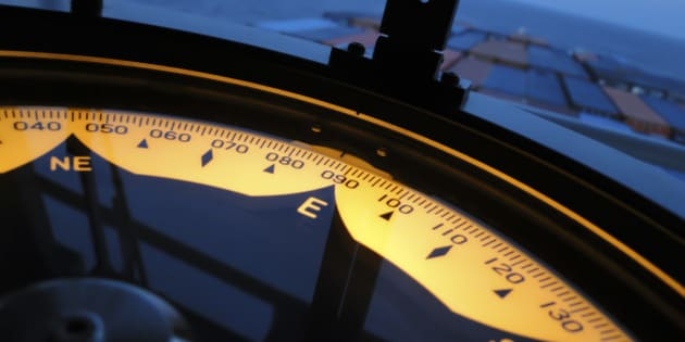 Nautical equipment designed to indicate ship's heading in relation to true North.