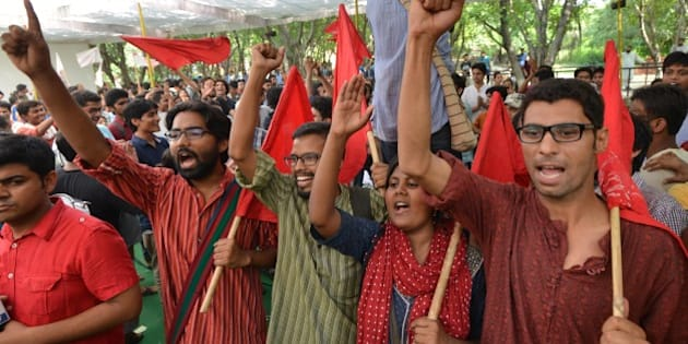 NEW DELHI, INDIA  SEPTEMBER 14: AISA supporters celebrating after the declaration of the results in New Delhi on Sunday. The All India Students' Association (AISA) won all the Four Seat in JNU.(Photo by K Asif/India Today Group/Getty Images)