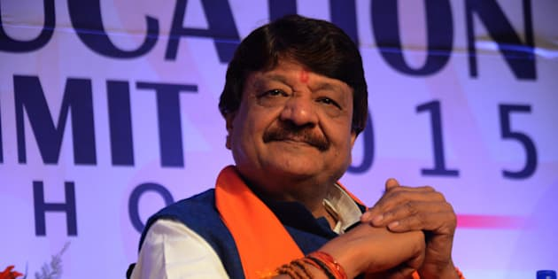 BHOPAL, INDIA  FEBRUARY 19: Kailash Vijayvargiya at Education Summit 2015 in Bhopal.(Photo by Pankaj Tewari/India Today Group/Getty Images)