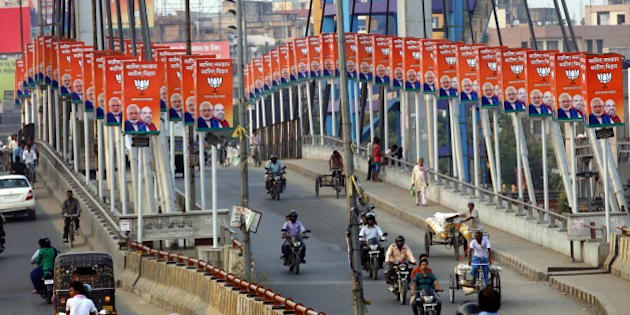 PATNA, INDIA - OCTOBER 20: BJP hoardings during election campaigns on Chiraiya Bridge on October 20, 2015 in Patna, India. Bihar will hold five-phase elections between October 12 and November 5 to elect the 243-member assembly. Counting of votes will take place on November 8. (Photo by Arvind Yadav/Hindustan Times via Getty Images)