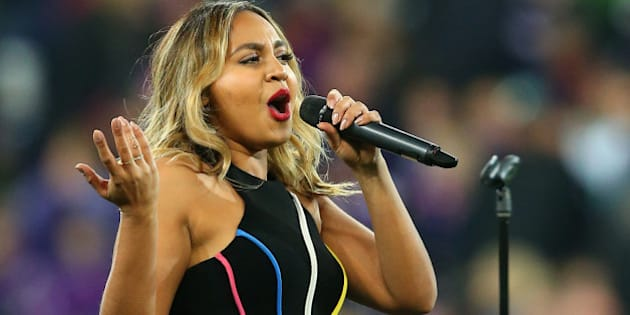 MELBOURNE, AUSTRALIA - SEPTEMBER 26:  Jessica Mauboy performs during the NRL Second Preliminary Final match between the Melbourne Storm and the North Queensland Cowboys at AAMI Park on September 26, 2015 in Melbourne, Australia.  (Photo by Quinn Rooney/Getty Images)