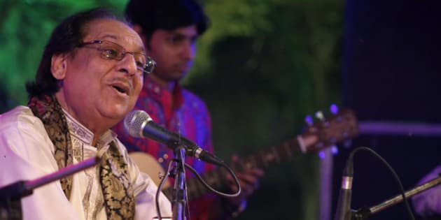 In this Saturday, Oct. 10, 2015 photo, Pakistani singer Ghulam Ali performs during a concert in Lucknow, in India's northern state of Uttar Pradesh. Ali was to perform in Mumbai, India's entertainment capital, on Friday, Oct. 9, but the organizers canceled the show as local Hindu nationalist party Shiv Sena has a history of disrupting concerts by Pakistani artists. (AP Photo/Deepak Sharma)