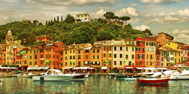 famous Portofino village on Ligurian coast, Italy. mediterranean sea. sunset landscape.
