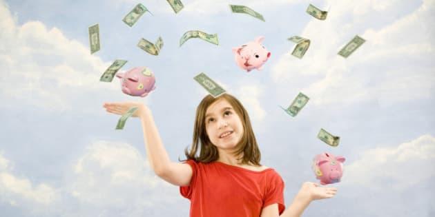 Child juggling money