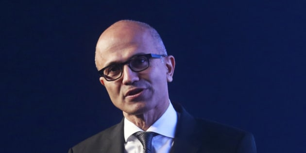 Microsoft CEO Satya Nadella delivers the keynote address at Microsoft's 'Future Unleashed' event in Mumbai, India, Thursday, Nov. 5, 2015. The indian-born Nadella is in the country for a one-day visit where he will also meet with key business leaders. (AP Photo/Rafiq Maqbool)