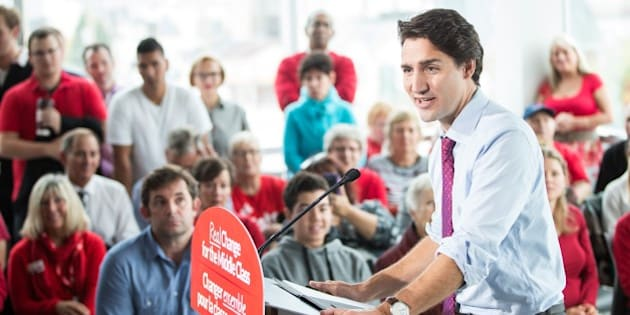 Liberal leader Justin Trudeau speaks at a rally at Goodwill Industries during a campaign stop in London, Ontario on October 7, 2015.  AFP PHOTO/GEOFF ROBINS        (Photo credit should read GEOFF ROBINS/AFP/Getty Images)