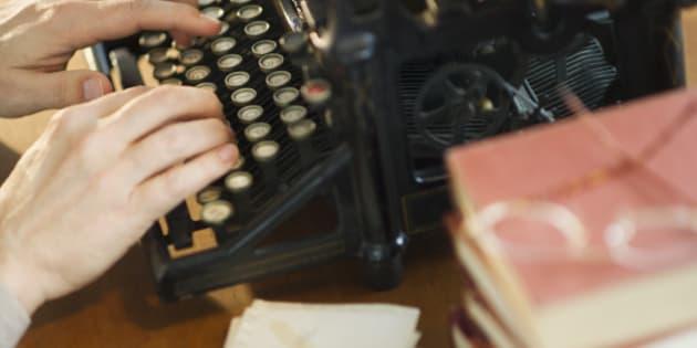 Typing on typewriter