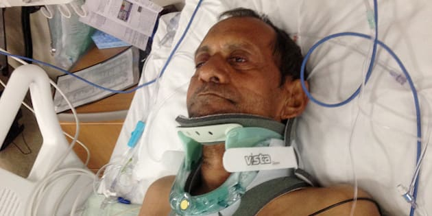 In this Saturday, Feb. 7, 2015 photo released by Chirag Patel,  Sureshbhai Patel is shown in a bed at Huntsville Hospital in Huntsville, Ala. An officer with the Madison Police Department has been arrested and faces termination following a confrontation in which the 57-year-old Indian grandfather was injured. (AP Photo/Chirag Patel)