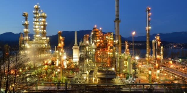 Oil refinery at night, Burnaby, British Columbia, Canada.