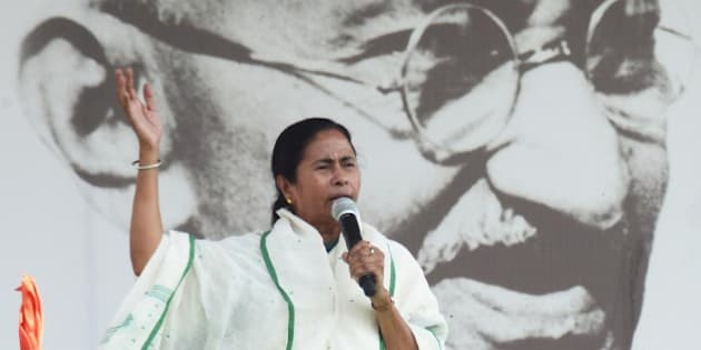 NEW DELHI, INDIA - MARCH 12: TMC Chief and West Bengal Chief Minister Mamata Banerjee addresses rally at Ramlila ground on March 12, 2014 in New Delhi, India. Anna Hazare skipped the rally. (Photo by Ramesh Pathania/Mint via Getty Images)