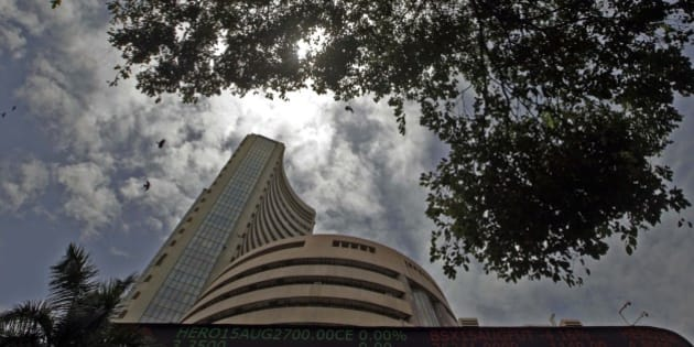 MUMBAI, INDIA - AUGUST 24: Bombay Stock Exchange building on August 24, 2015 in Mumbai, India. Sensex crashed over 1700 points or 6.22 per cent in pre-close trade with the investor wealth down by over Rs. 7 lakh crore with nearly Rs. 4 lakh crore lost in an hour. (Photo by Kunal Patil/Hindustan Times via Getty Images)
