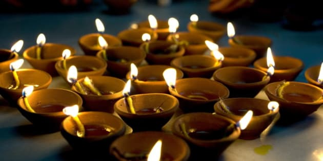Deepak lights (oil and cotton wick candles) lit for domestic decoration to celebrate the Diwali festival, India