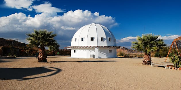 """<em>""""The Integratron is the creation of George Van Tassel, and is based on the design of Moses' Tabernacle, the writings of Nikola Tesla and telepathic directions from extraterrestrials. This one-of-a-kind building is a 38-foot high, 55-foot diameter, non-metallic structure originally designed by Van Tassel as a rejuvenation and time machine.  Today, it is the only all-wood, acoustically perfect sound chamber in the U.S.""""</em>  <strong><a href=""""http://www.integratron.com/"""" rel=""""nofollow"""">Learn more...</a></strong>"""