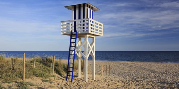 Lifeguard Tower on Beach, Isla Christina, Huelva, Andalucia, Spain