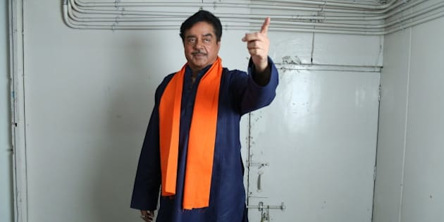 NEW DELHI, INDIA  APRIL 19: Bollywood actor Shatrughan Sinha poses for photographers before his on-stage comic play, Pati, Patni aur Main on April 19, 2015 in New Delhi, India. (Photo by Raajessh Kashyap/Hindustan Times via Getty Images)