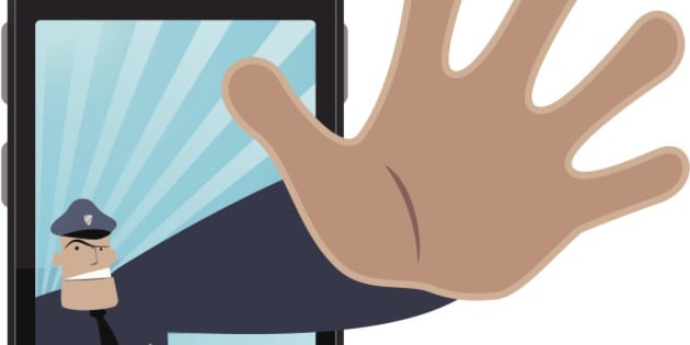 Vector illustration - Police making stop gesture and protecting your cell phone.