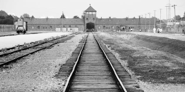 Auschwitz-Birkenau. The rail tracks and entrance gate of this infamous concentration camp