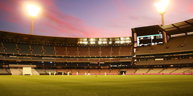 MELBOURNE, AUSTRALIA - OCTOBER 29:  A general view at dusk during day two of the Sheffield Shield match between Victoria and Queensland at Melbourne Cricket Ground on October 29, 2015 in Melbourne, Australia.  (Photo by Scott Barbour/Getty Images)