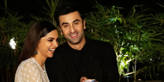 MUMBAI, INDIA - NOVEMBER 7: (Editors Note: This is an exclusive shoot of Hindustan Times) Bollywood actors Deepika Padukone and Ranbir Kapoor during an exclusive interview for Diwali festival with HT Cafe-Hindustan Times at Cafe Terra, Bandra, on November 7, 2015 in Mumbai, India. During the interview, Ranbir said, 'I don't think stardom has changed the way we celebrate Diwali. We still celebrate it with our family, continue working and doing good work. It's the same except that, maybe, we have to record Diwali wishes for news channels now (laughs).' (Photo by Vidya Subramanian/Hindustan Times via Getty Images)