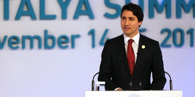 ANTALYA, TURKEY - NOVEMBER 15 : Prime Minister of Canada Justin Trudeau (C) gives a speech during the  L20 / B20 joint Summit held prior to the G20 Leaders' Summit, in Antalya, Turkey on November 15, 2015. Antalya, top tourist attraction city in southern Turkey on the coast of the Mediterranean Sea, host the G20 Turkey Leaders Summit between November 15 and 16. (Photo by Ali Ihsan Ozturk/Anadolu Agency/Getty Images)