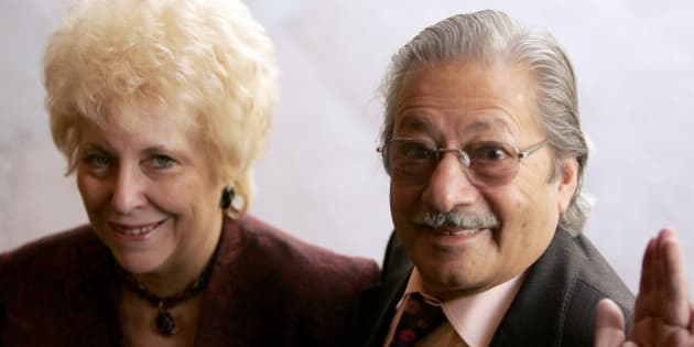 LONDON - FEBRUARY 18:  Actor Saeed Jaffrey with his wife arrive at the 'Norman At Ninety' Tribute Luncheon at the Royal Lancaster Hotel on February 18, 2005 in London. Members of showbiz fraternity and charity The Grand Order Of Water Rats and other celebrity friends help celebrate Wisdom's 90 birthday, which was February 4.  (Photo by MJ Kim/Getty Images)