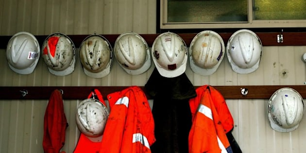 (AUSTRALIA & NEW ZEALAND OUT) Miners hats hang outside a mine at Candia Hill gold and copper mine, 18 May 2004. AFR Picture by ROB HOMER (Photo by Fairfax Media via Getty Images)