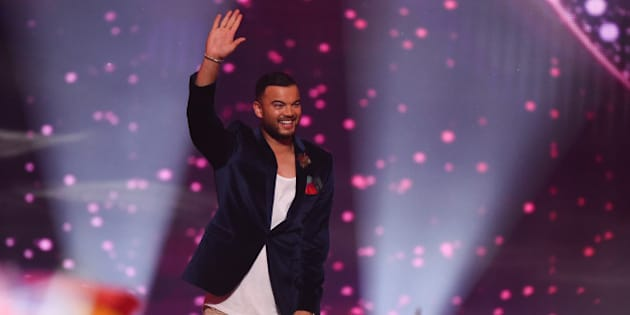 VIENNA, AUSTRIA - MAY 23:  Guy Sebastian of Australia arrives on stage during the final of the Eurovision Song Contest 2015 on May 23, 2015 in Vienna, Austria. The final of the Eurovision Song Contest 2015 will take place on May 23, 2015.  (Photo by Nigel Treblin/Getty Images)
