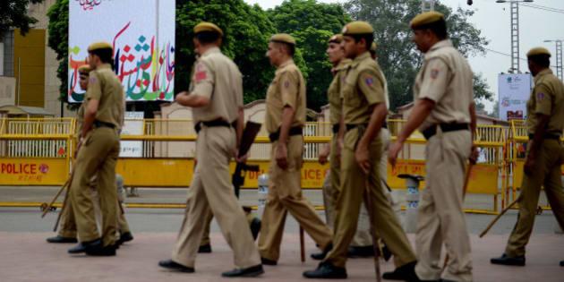 NEW DELHI, INDIA  SEPTEMBER 11: Police stand guard during Aalishan Pakistan exhibition 2014 at Pragati Maidan, on September 11, 2014 in New Delhi, India. (Photograph by Priyanka Parashar/Mint Via Getty Images)