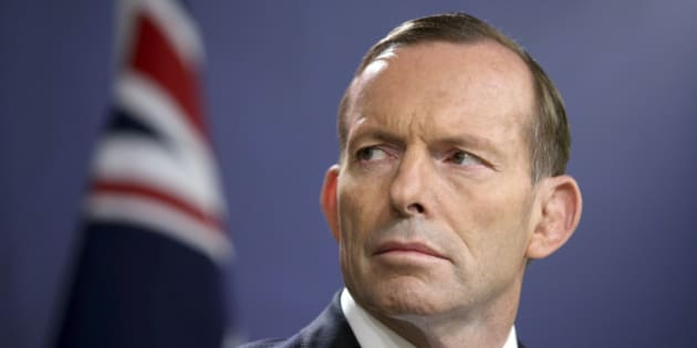 FILE - In this Sept. 19, 2014 file photo, Australian Prime Minister Tony Abbott speaks during a press conference, in Sydney.  Beleaguered Prime Minister Abbott will face a second challenge to his position this year, with a ballot of government colleagues late Monday, Sept. 14, 2015, hours after a senior minister challenged him for his party leadership. (AP Photo/Rick Rycroft, File)
