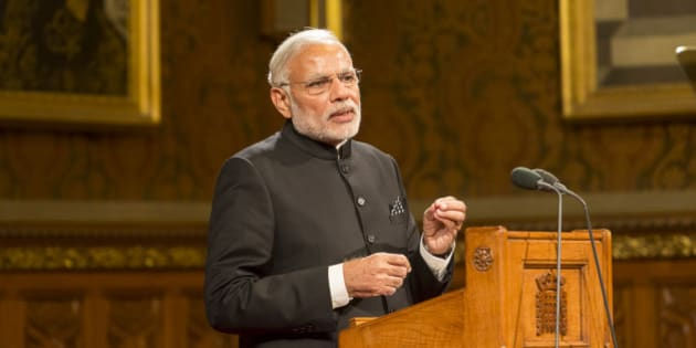 """Prime Minister Modi delivers his speech  <a href=""""#//www.parliament.uk/business/news/2015/november/india-pm-visits-parliament/  rel="""" rel=""""nofollow"""">Prime Minister of India visits UK Parliament</a>  Image: House of Lords 2015 / Photography by Roger Harris This image is subject to <a href=""""http://www.parliament.uk/site-information/copyright/use-of-parliamentary-photographic-images/"""" rel=""""nofollow"""">parliamentary copyright</a>. <a href=""""http://www.parliament.uk"""" rel=""""nofollow"""">www.parliament.uk</a>"""