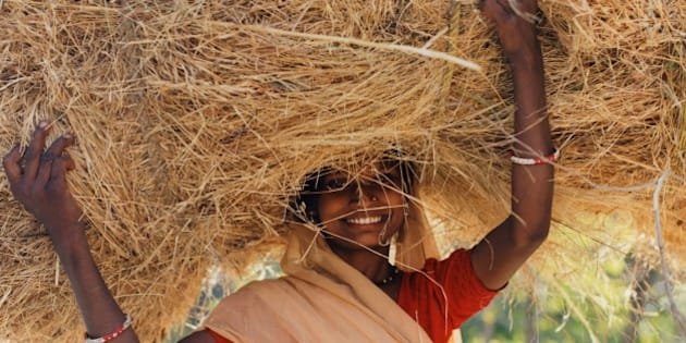 Woman carrying hay on her head
