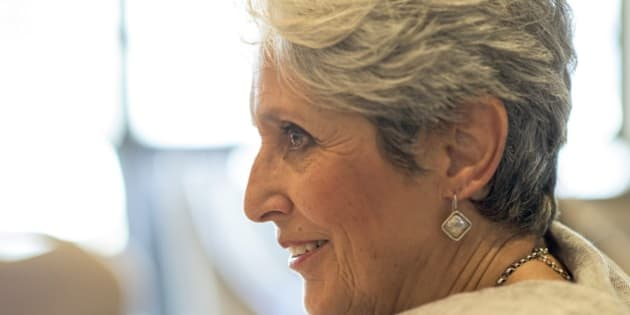 ISTANBUL, TURKEY - JULY 1: American folk singer Joan Baez speaks during an interview in Istanbul, Turkey on July 1, 2015, prior to her concert at Cemil Topuzlu Open-Air Theatre during the 22nd Istanbul Jazz Festival. (Photo by IKSV/Anadolu Agency/Getty Images)