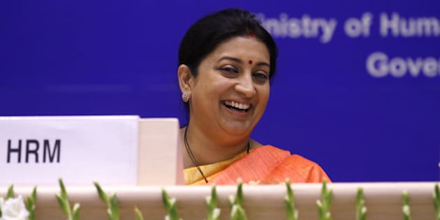NEW DELHI, INDIA - SEPTEMBER 8: Union Minister of Human Resource Development Smriti Irani during the celebration of International Literacy Day at Vigyan Bhawan on September 8, 2015 in New Delhi, India. (Photo by Virendra Singh Gosain/Hindustan Times via Getty Images)