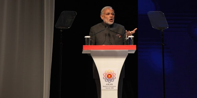KUALA LUMPUR, MALAYSIA - NOVEMBER 21: India Prime Minister Narendra Modi gives a speech during The Asean Business and Investment Summit on November 21, 2015 in Kuala Lumpur, Malaysia on November 21, 2015 in Kuala Lumpur, Malaysia.  (Photo by Mohd Samsul Mohd Said/Getty Images)