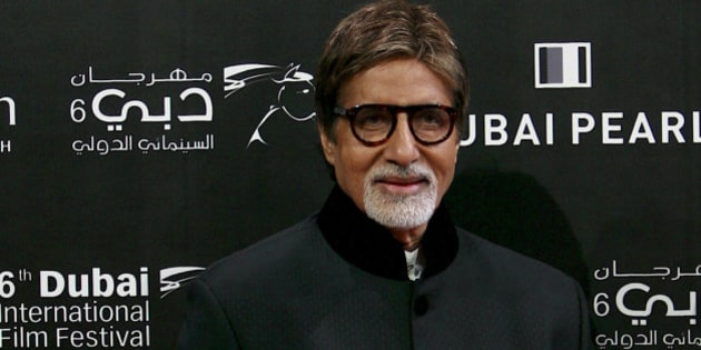 Indian actor Amitabh Bachhan arrives on the red carpet at the opening of the 6th Dubai International Film Festival,  In Dubai,United Arab Emirates Wednesday, Dec. 9, 2009. (AP Photo/Nousha Salimi)