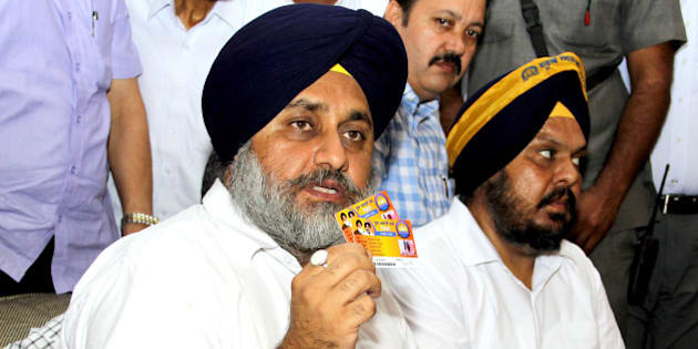 BATHINDA, INDIA - MAY13: Deputy Chief Minister of Punjab Sukhbir Singh Badal launch a state-wide general membership in youth Akali Dal on May 13, 2015 in Bathinda, India. (Photo by Sanjeev Kumar/Hindustan Times via Getty Images)