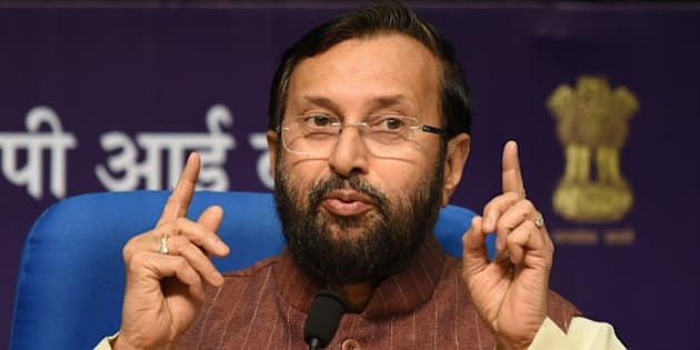 Indian Minister of Environment, Forests and Climate Change, Prakash Javadekar speaks during a press conference in New Delhi on August 24, 2015.  World governments will try to forge a new global accord to address climate change at a UN climate conference in Paris from November 30 - December 11, 2015 with both developed and developing countries committing to cutting greenhouse gas emissions. AFP PHOTO / SAJJAD HUSSAIN        (Photo credit should read SAJJAD HUSSAIN/AFP/Getty Images)