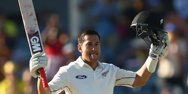 PERTH, AUSTRALIA - NOVEMBER 15: Ross Taylor of New Zealand celebrates after reaching his double century during day three of the second Test match between Australia and New Zealand at the WACA on November 15, 2015 in Perth, Australia.  (Photo by Robert Cianflone/Getty Images)