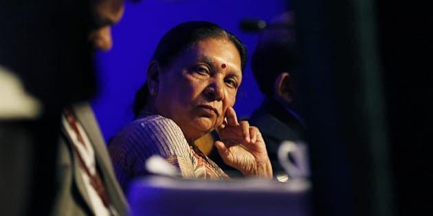NEW DELHI, INDIA - AUGUST 27: Chief Minister of Gujarat Anandiben Patel during Vibrant Gujarat curtain raiser at Taj Palace, in New Delhi, India. Prime Minister Narendra Modi will inaugurate the seventh edition of the Vibrant Gujarat Global Summit, an event he conceptualized as the chief minister to attract global investors to the state. The biennial event will be held between January 11 and January 13, 2015 at Mahatma Mandir in Gandhinagar. (Photo by Raj K Raj/ Hindustan Times via Getty Images)