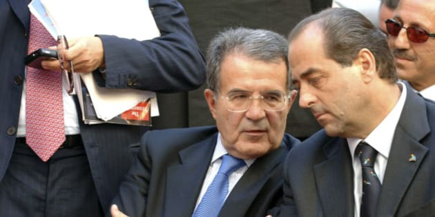 Italian premier Romano Prodi talks with Antonio Di Pietro during the ''Italia dei Valori'' congress in Vasto, Italy, Friday, Sept. 22, 2006. (AP Photo/Michele Camiscia)