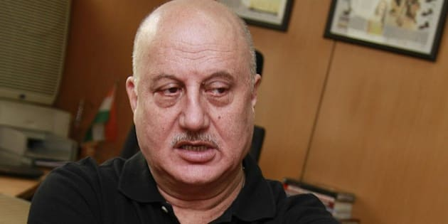 NEW DELHI, INDIA - MARCH 20: (Editors Note: This is an exclusive shoot of Hindustan Times) Bollywood actor Anupam Kher during an exclusive interview with HT City-Hindustan Times for the promotion of upcoming film Gang of Ghosts at HT Media office on March 20, 2014, in New Delhi, India. (Photo by Waseem Gashroo/Hindustan Times via Getty Images)