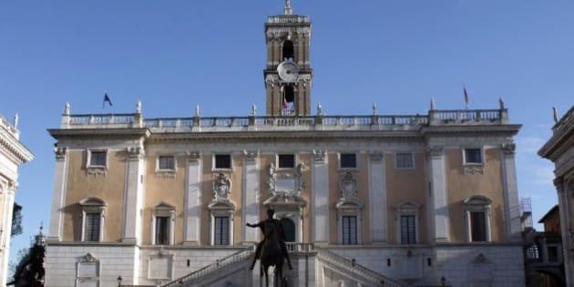 A Piazza del Campidoglio (Praça do Capitólio), com a imponente estátua de Marco Aurélio ao centro.